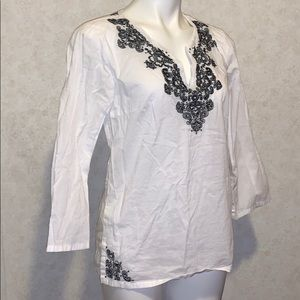 Nine West separates embroidery blouse white black